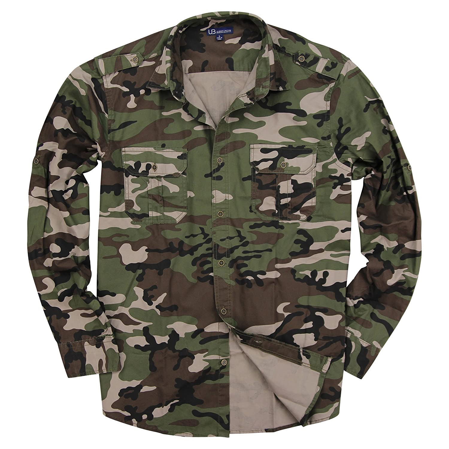 Urban Boundaries Men s Classic Long Sleeve Military Style Shirt at Amazon Men s Clothing store