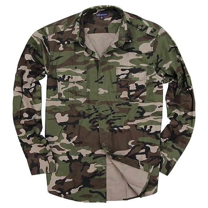 2b2a279920f Urban Boundaries Mens Long Sleeve Camouflage Military Shirt (Army Green Camo