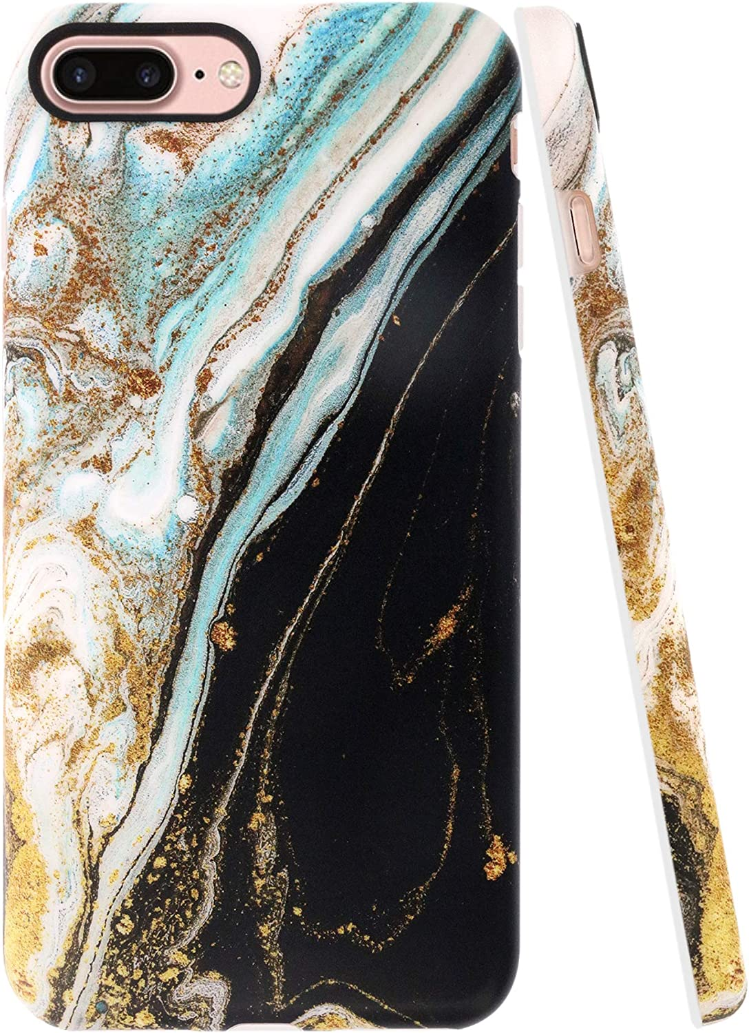 A-Focus Case for iPhone 8 Plus Case, iPhone 7 Plus Case Marble, Frosted Black White Marble Series IMD Design Flexible Slim TPU Rubber Case for iPhone 7 Plus 8 Plus 5.5 inch Matte Black Yellow