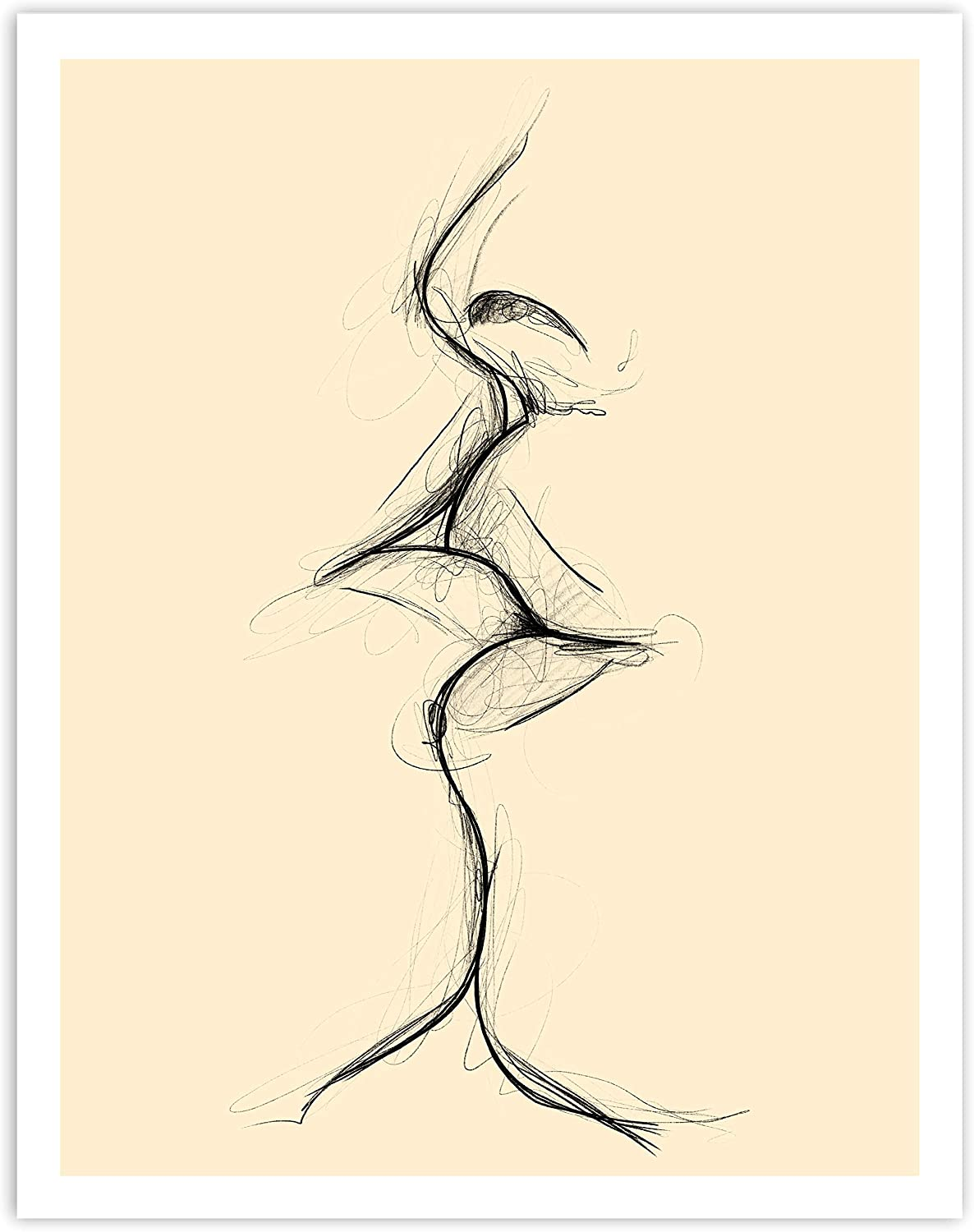 Printsmo, The Kiss Sketch, Black and Cream, Minimalist Modern Art Print Poster, Contemporary Wall Art for Home Decor 11x14 inches, Unframed