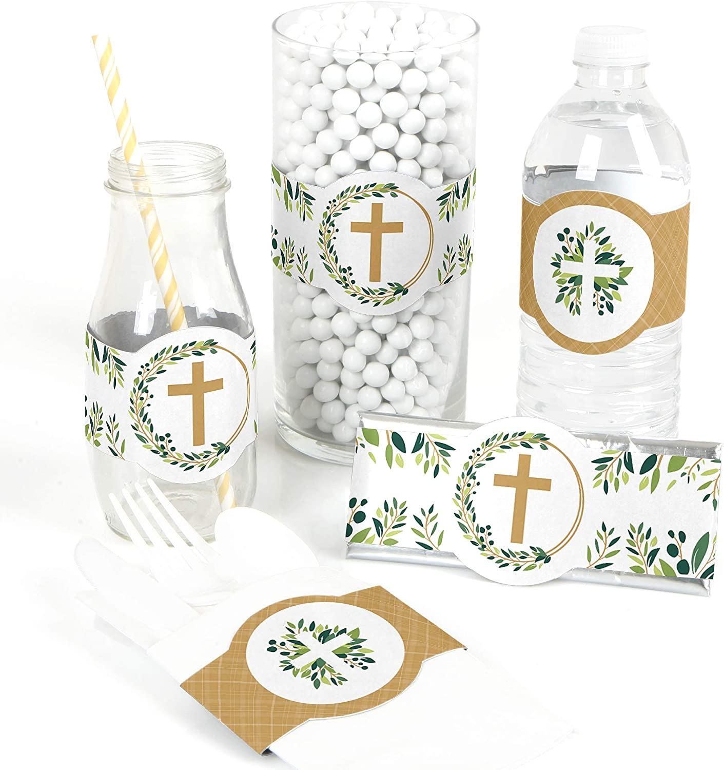 Elegant Cross DIY Party Supplies Set of 15 Religious Party DIY Wrapper Favors and Decorations
