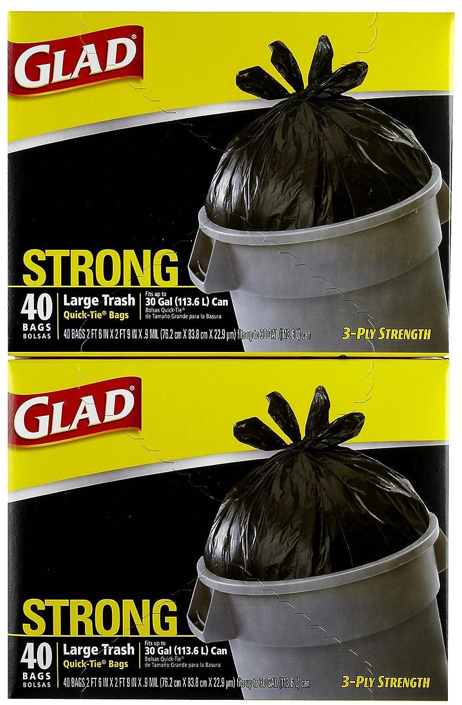 Amazon.com: Glad Quick-Tie Trash Bags - 30 gal - 40 ct - 2 ...