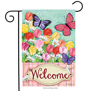 butterflies and tulips spring garden flag welcome floral butterfly 125 - Uf Butterfly Garden