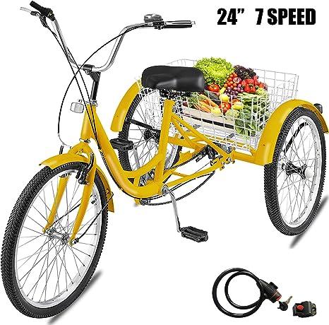 Happybuy - Cesta de bicicleta de triciclo para adultos de 24 ...