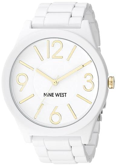 Nine West para Mujer Reloj Infantil de Cuarzo con Esfera analógica Blanca y Blanco Correa de Silicona NW/1678wtwt: Amazon.es: Relojes