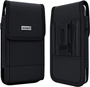 Cell Phone Holster Designed for iPhone 12 Pro Belt Case Rugged Nylon Phone Holder with Belt Clip Belt Loop Pouch Belt Holder for Apple iPhone 12 Pro /12/11 with Other Medium to Thick Case on-Black