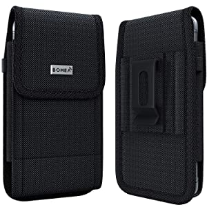 BOMEA iPhone 11 Pro Max/Xs Max Holster Case - Rugged Nylon Belt Clip Case Cell Phone Carrying Pouch Holder Belt Holster for Apple iPhone 11 Pro Max/Xs Max (Fits Phone w/Otterbox Commuter Case on)