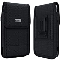 PiTau iPhone XR Belt Case, iPhone 11 Holster, Rugged Nylon Cell Phone Holster Case with Belt Clip Loop Pouch Belt Holder Cover for Apple iPhone 11 / XR (Fits Phone w/ Otterbox Commuter Case on) Black