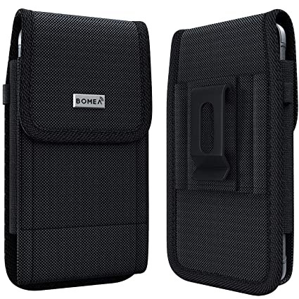buy popular 62c89 aa317 Bomea Rugged Nylon iPhone 8 6 6s 7 Holster Black Carrying Cell Phone Holder  Belt Clip Holster Case Pouch for iPhone 8/6 / 6S / 7 (Fits iPhone with ...