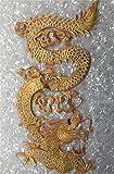 Parches bordados de dragón de línea dorada grande para ropa de vestir, parches head for right
