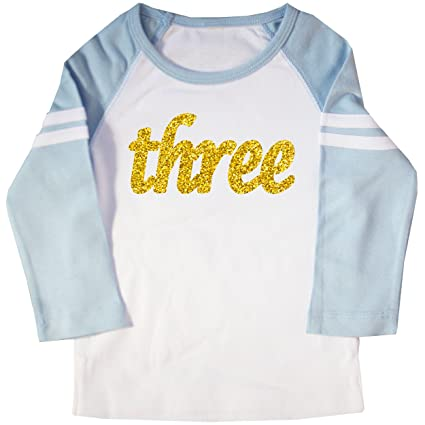 Happy Family Clothing Glitter Gold Three Third Birthday Kids Raglan T Shirt 4 5T White Light Blue Amazonin Baby