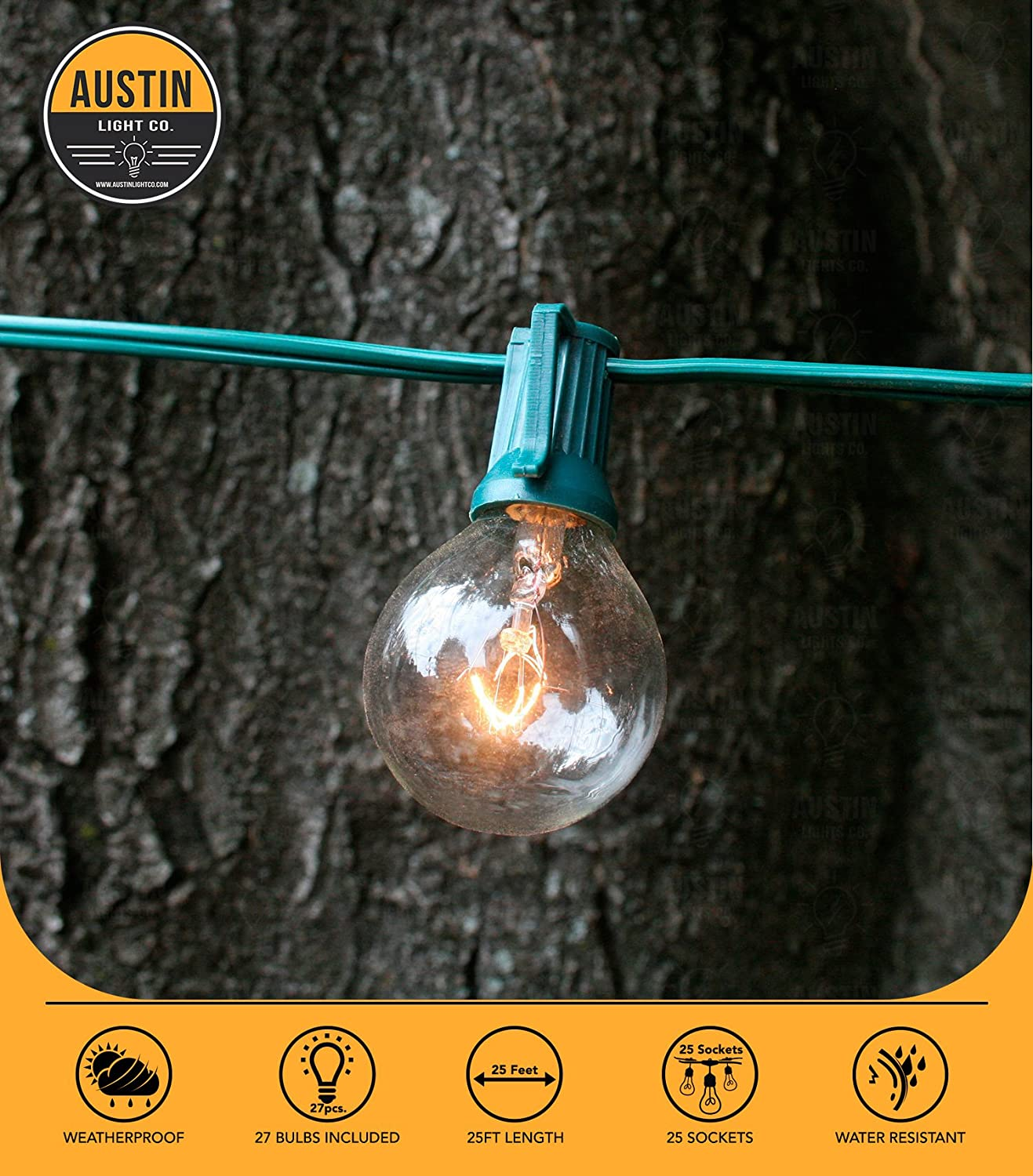 Austin Light Co 25 Foot G40 Globe String Lights With Lightbulb Learning Wiring Bulbs By Ul Listed For Indoor And Outdoor Commercial Decoration Great Patios Cafs Parties Homes Bistros Weddings