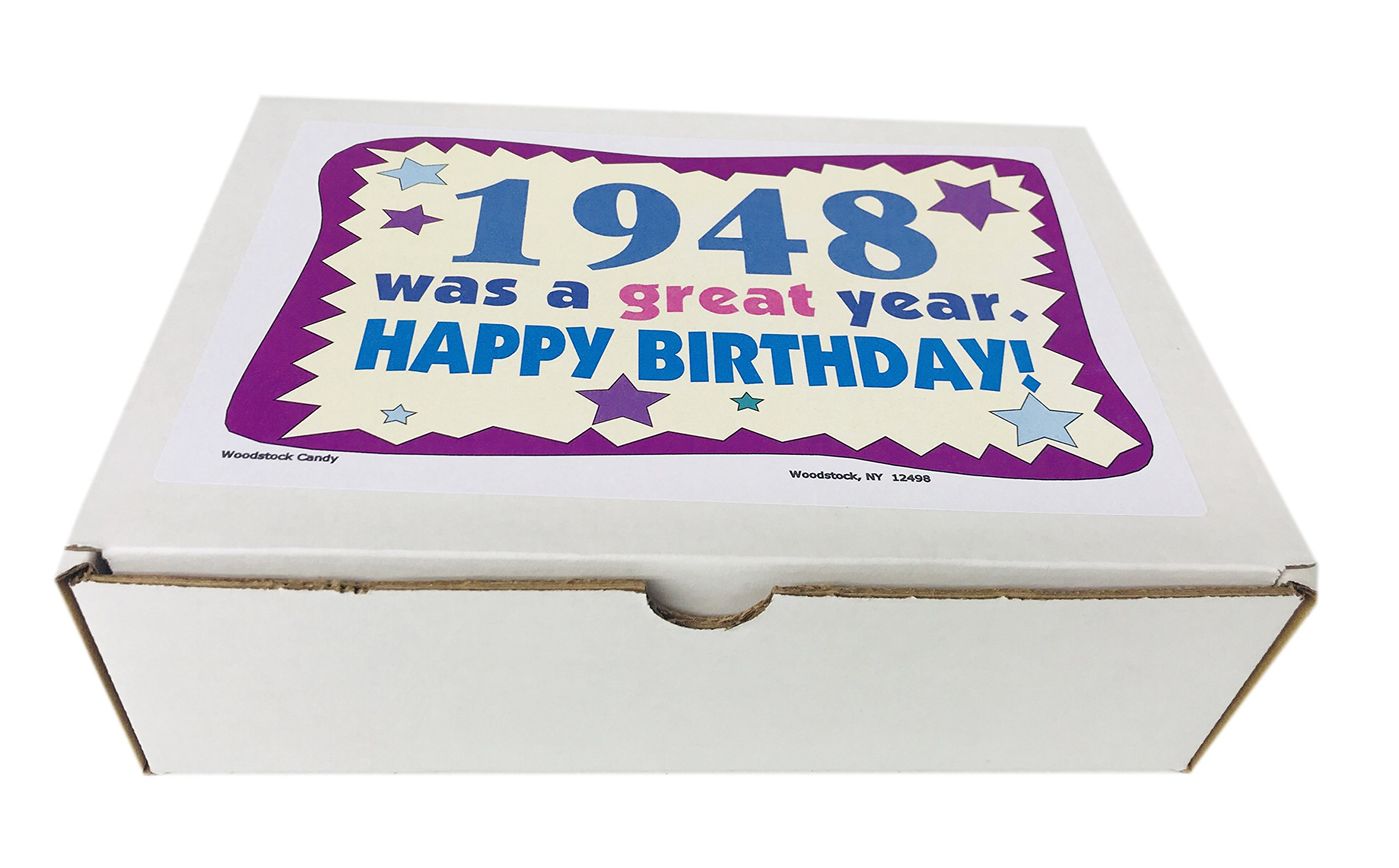 Woodstock Candy 1948 70th Birthday Gift Box Nostalgic Retro Mix For 70 Year Old Man Or Woman Born Jr Chocolate Gifts Grocery