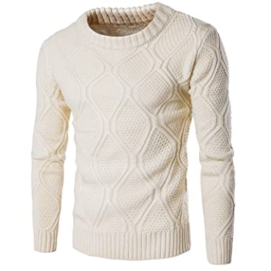 WSLCN Homme Pull Hiver Pulls Tricot Col Rond Sweater Coton Pullover Sweat-Shirts  Uni Beige 84589e485fea