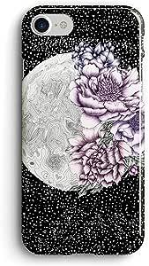 جراب خلفي بطباعة قمر زهور لهاتف ايفون 8 من كوفري كيسيس- متعدد الالوان