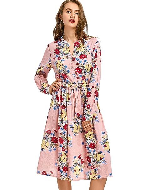 469a084f7 Vestido Floral Estampado Mangas Largas con Cintura Drapeada para Mujer:  Amazon.es: Ropa y accesorios