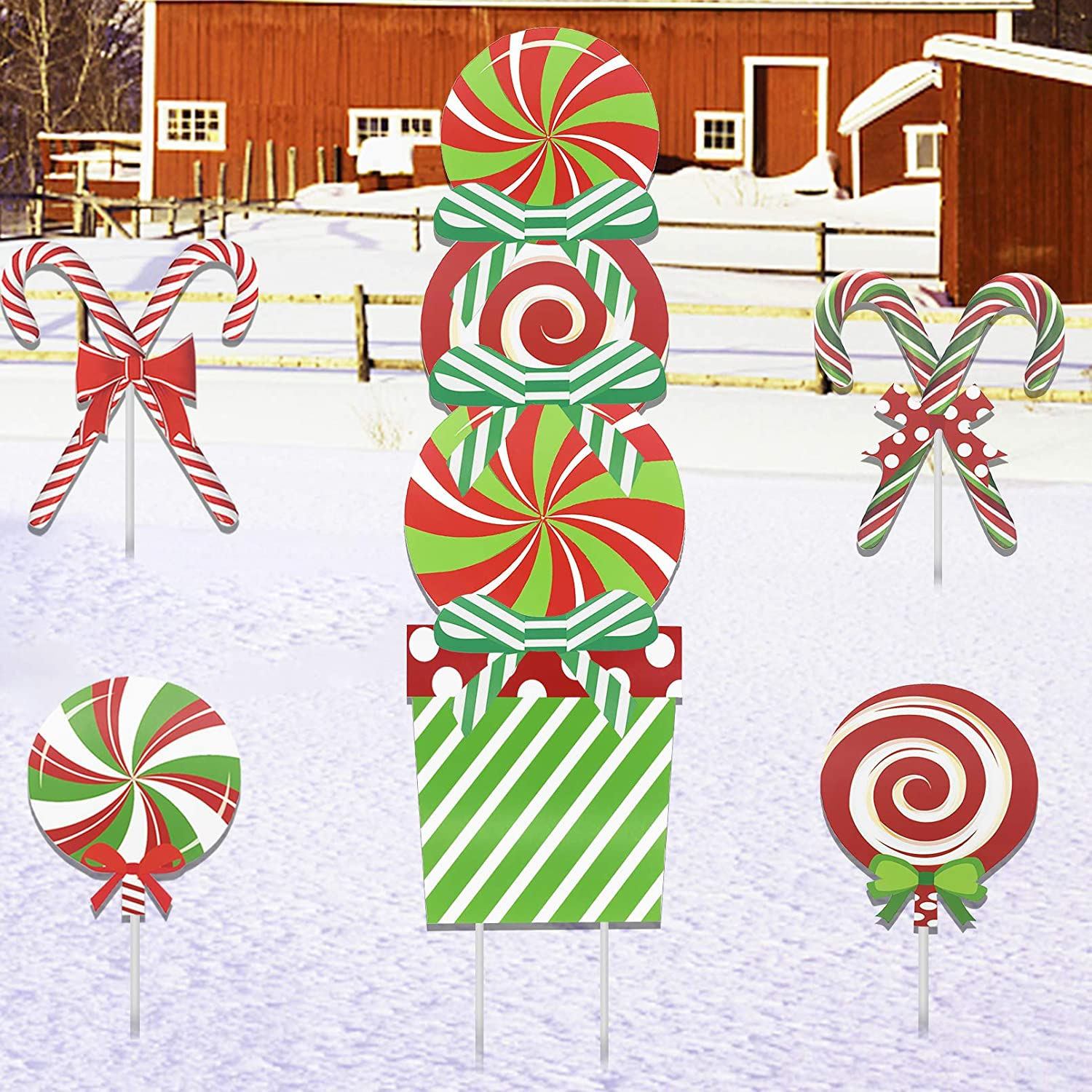 Deloky 11 PCS Christmas Giant Candy Yard Signs-Peppermint Xmas Splicing Lawn Decorations-Holiday Decor Yard Sign with Stakes for Home Lawn Pathway Walkway Candy Themed Party
