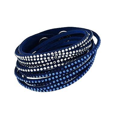 58e3dafe61542 Pulseira Swarovski Slake Azul E Cristal  Amazon.com.br  Amazon Moda