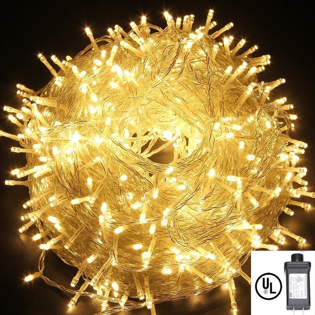 String Lights,Bienna UL Listed Plug In 200 LED 100 ft/30M Multi Color Starry Fairy Lighting [8 Modes] [Waterproof] for Bedroom Outdoor Indoor Patio Home Christmas Xmas Holiday Wedding Party-Warm White by BIENNA
