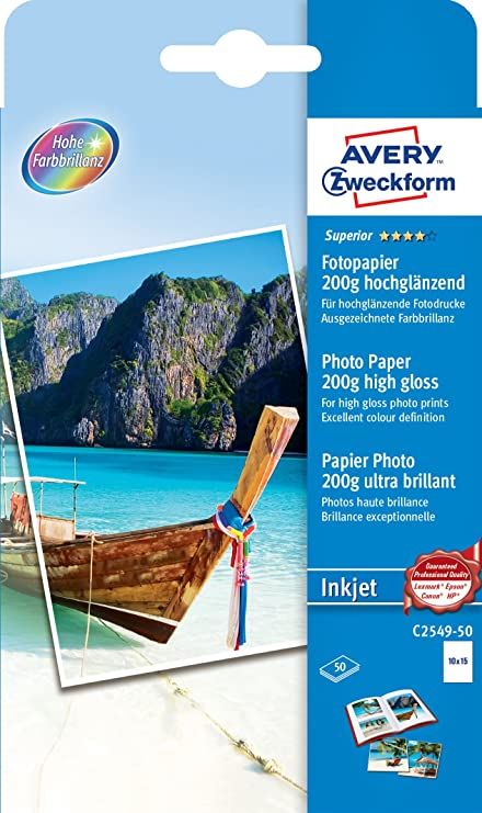 Avery Superior Inkjet, 10x15, 200g - Papel fotográfico (10x15, 200g, 200 g/m², 10 x 15 cm, 30-75%, 15-30 °C, 15-30 °C) Color blanco