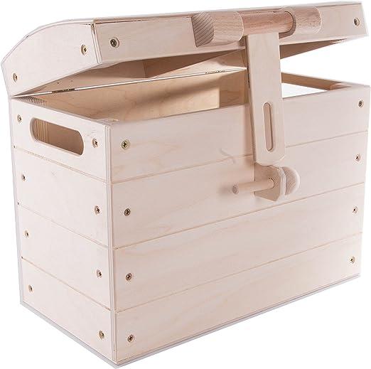 SEARCHBOX Gran Pirata de Madera Cofre del Tesoro de Almacenamiento Caja de Juguetes//Plain Cajas de Madera sin pintar/36 x 23 x 29 cm: Amazon.es: Hogar
