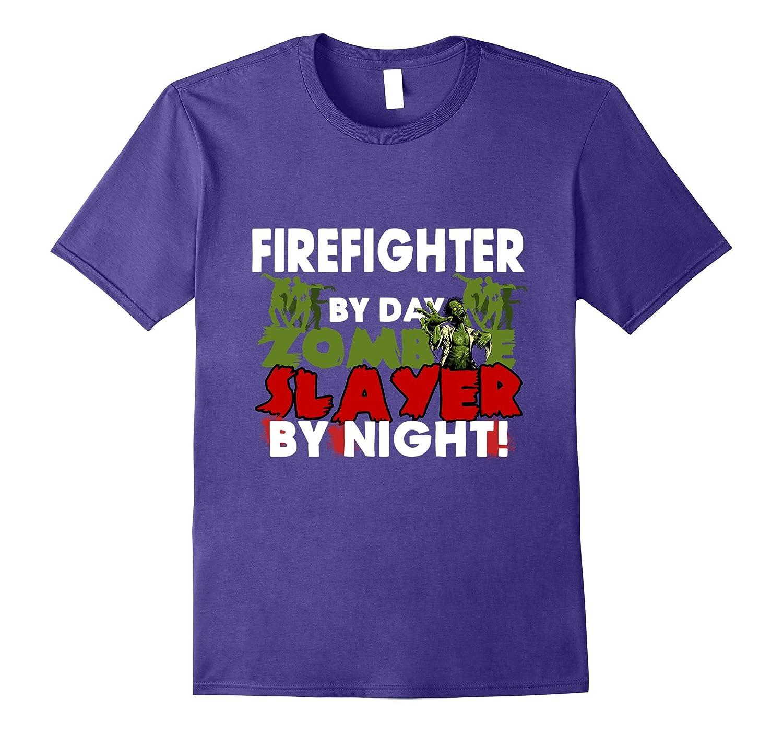 Funny Halloween Tee Shirts Firefighter Zombie Slayer T Shirt-T-Shirt