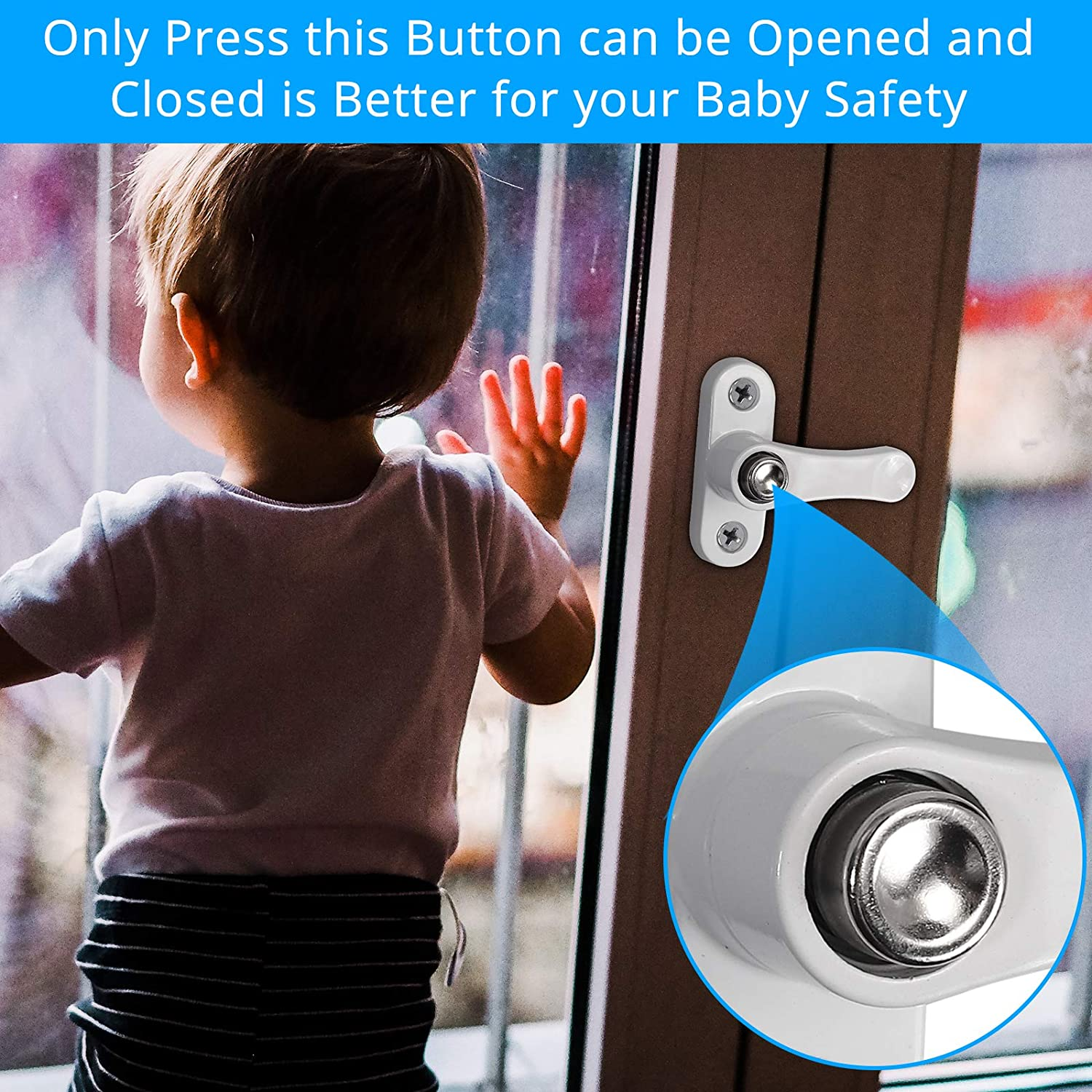 eSynic 4pcs Sash Blocker Jammer UPVC Window Door Restrictor Baby Security Lock with Home Security Button Lock Function for Home Child Baby Safety-White