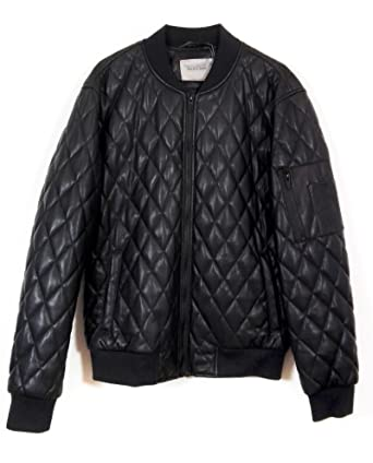 Zara Men Faux Leather Quilted Bomber Jacket 2398404 At Amazon Mens