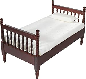 Inusitus Miniature Dollhouse Bed - Dolls House Furniture Queen Bed- 1/12 Scale (Dark-Light-Fabric)