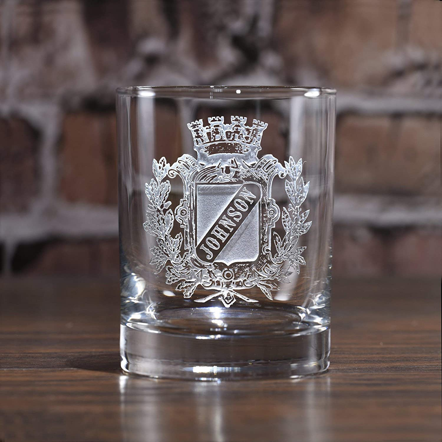 Engraved Whiskey, Scotch, Bourbon Glasses, Coat of Arms, Family Crest - One Glass - (crest)