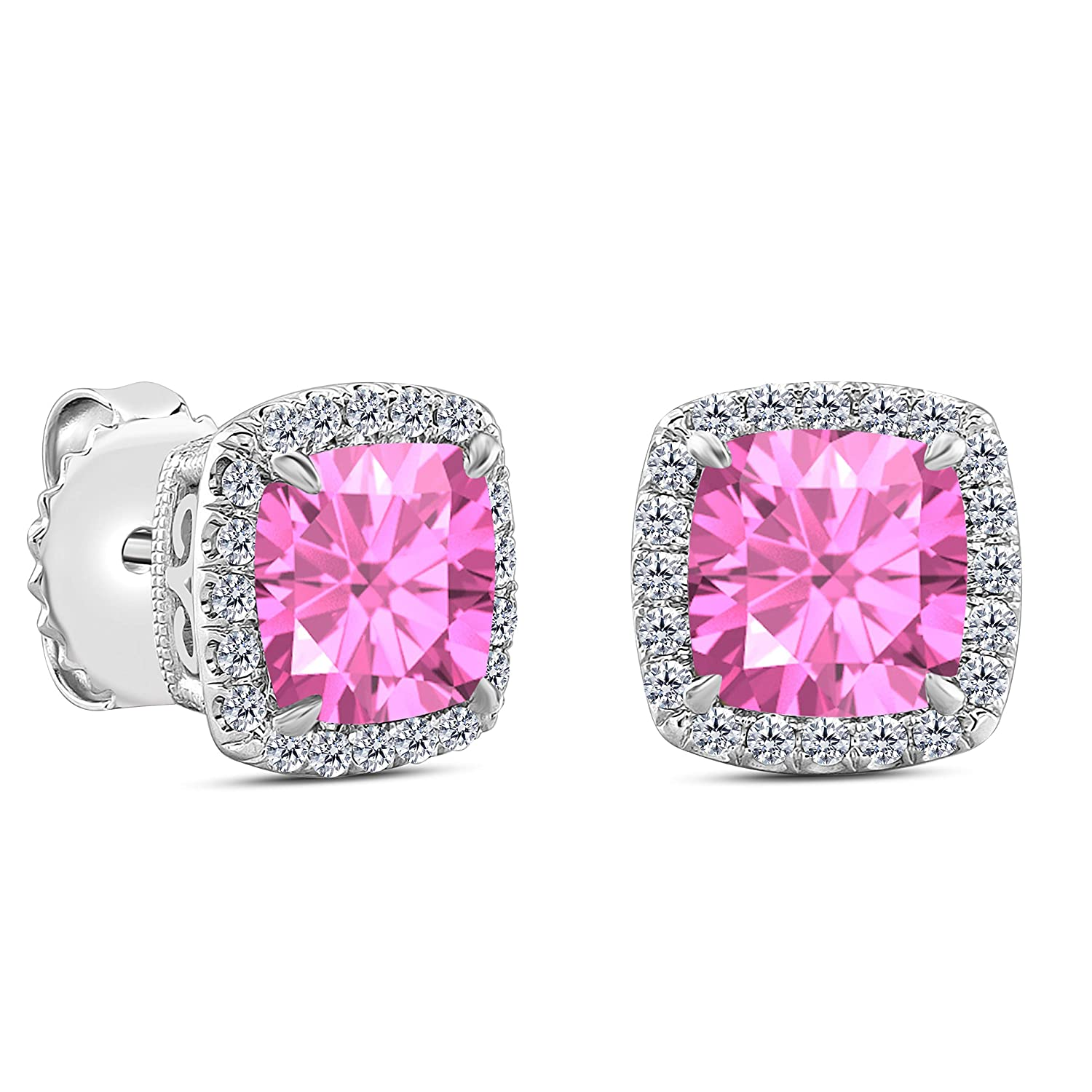 Gems and Jewels 1.75 Ct Cushion Cut Created Pink-Sapphire 14k White Gold Plated Alloy Brilliant Cut Halo Stud Earrings For Womens