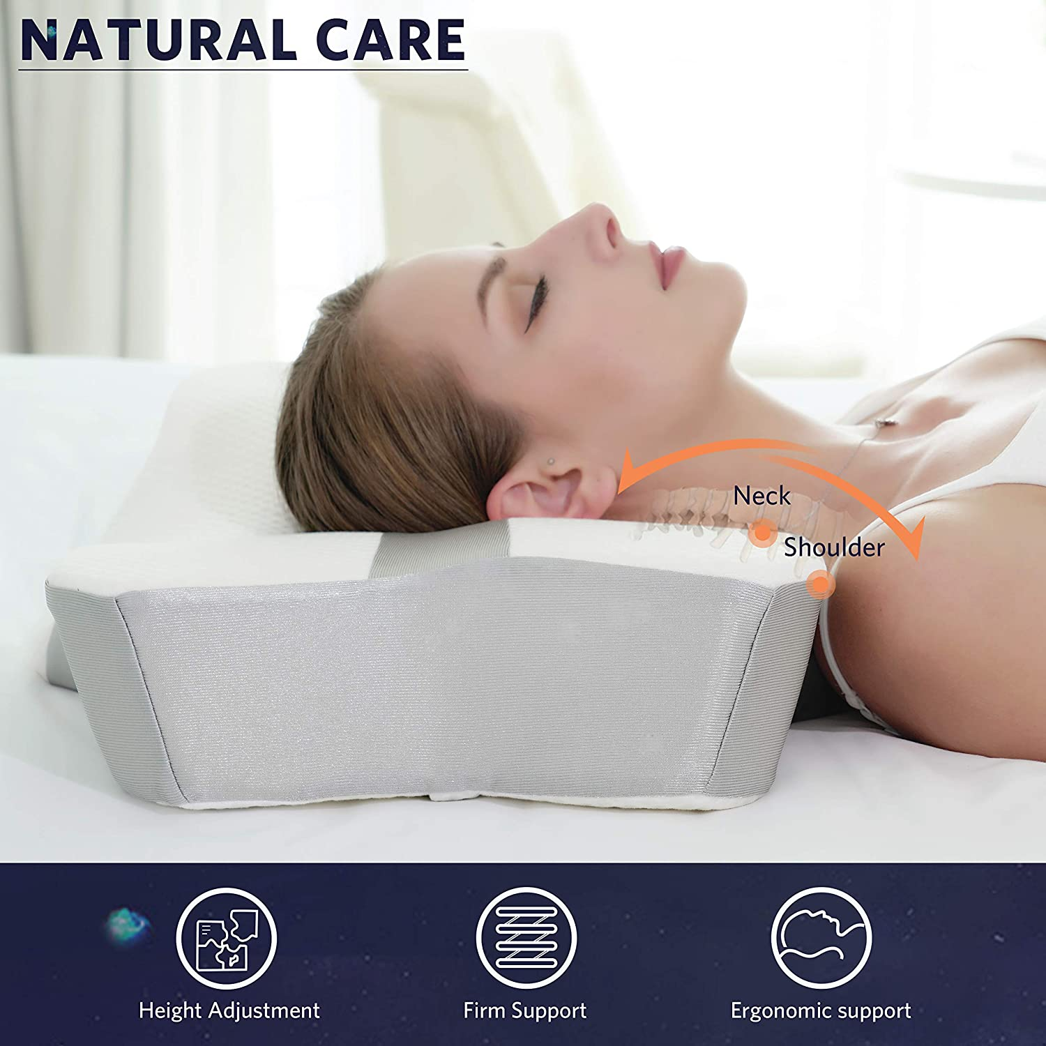 YARKOR Contour Memory Foam Pillow, Orthopedic Pillows for Neck Pain, Ergonomic Cervical Pillow for Side Sleepers, Back and Stomach Sleep (with Machine Washable Pillowcase): Home & Kitchen