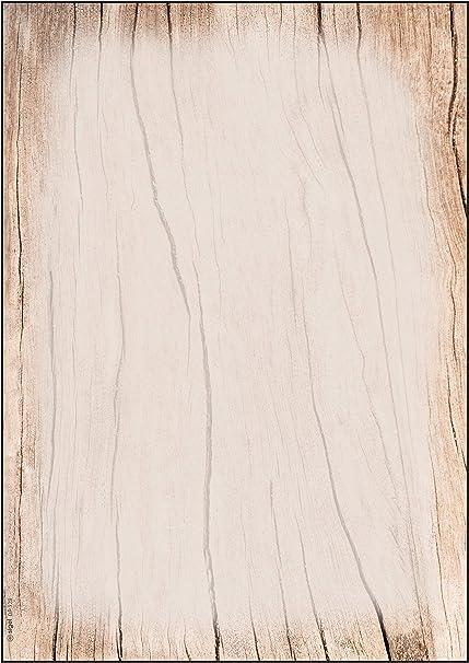 SIGEL DP128 Papel de cartas, 21 x 29,7 cm, 90g/m², motivo madera ...