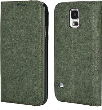 Mulbess Funda Samsung Galaxy S5 [Libro Caso Cubierta] Slim de Billetera Cuero Carcasa para Samsung Galaxy S5 / S5 Neo Case, Verde: Amazon.es: Electrónica