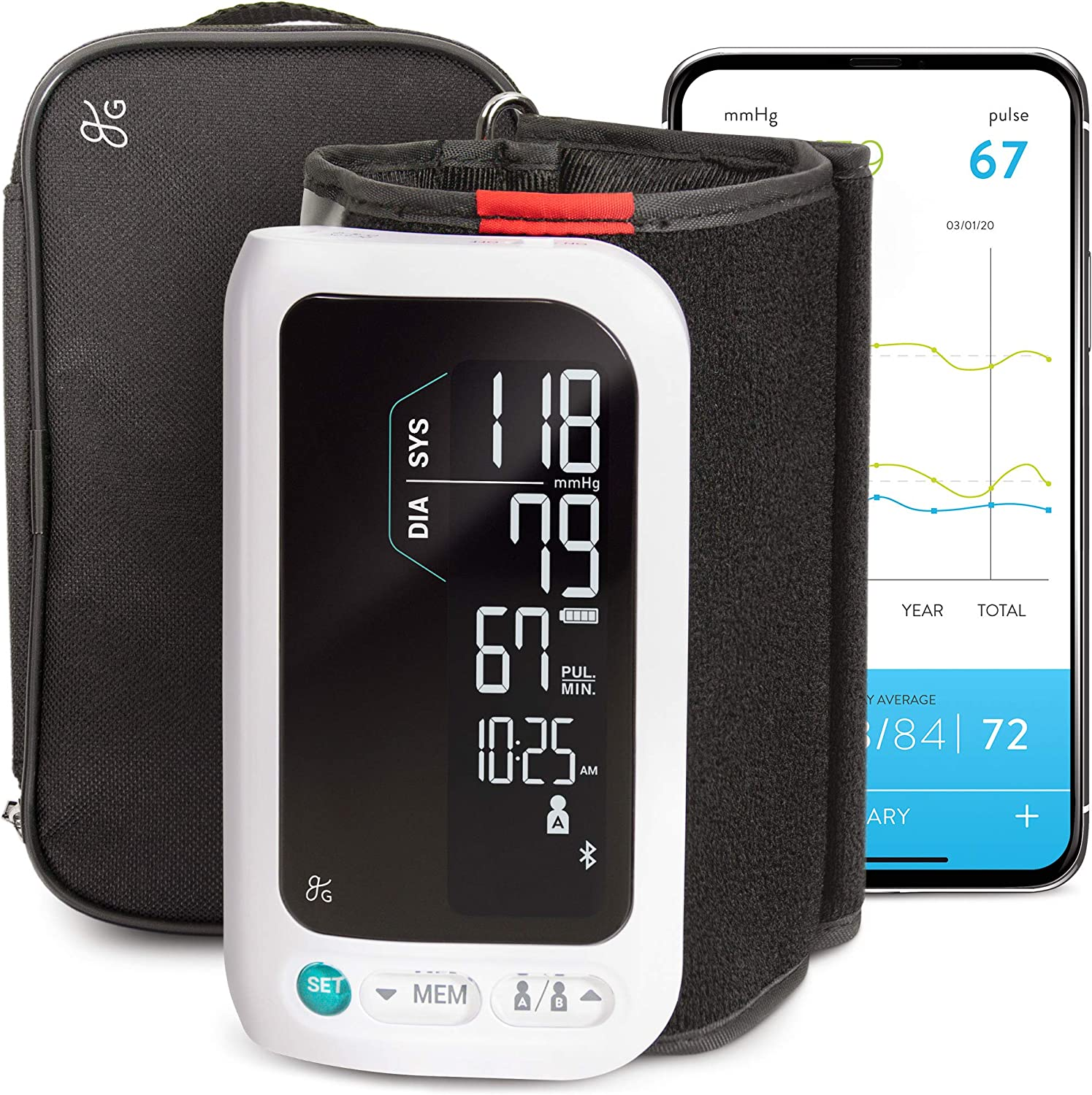 GreaterGoods All-in-One Smart Blood Pressure Monitor Pack, Upper Arm Cuff, Cordless, Wireless, Rechargeable, Automatic and Bluetooth (Upper Arm Cuff)