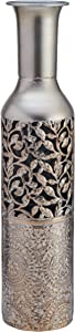 Elements 5181406 Embossed Decorative Metal Vase, 17-Inch, Silver