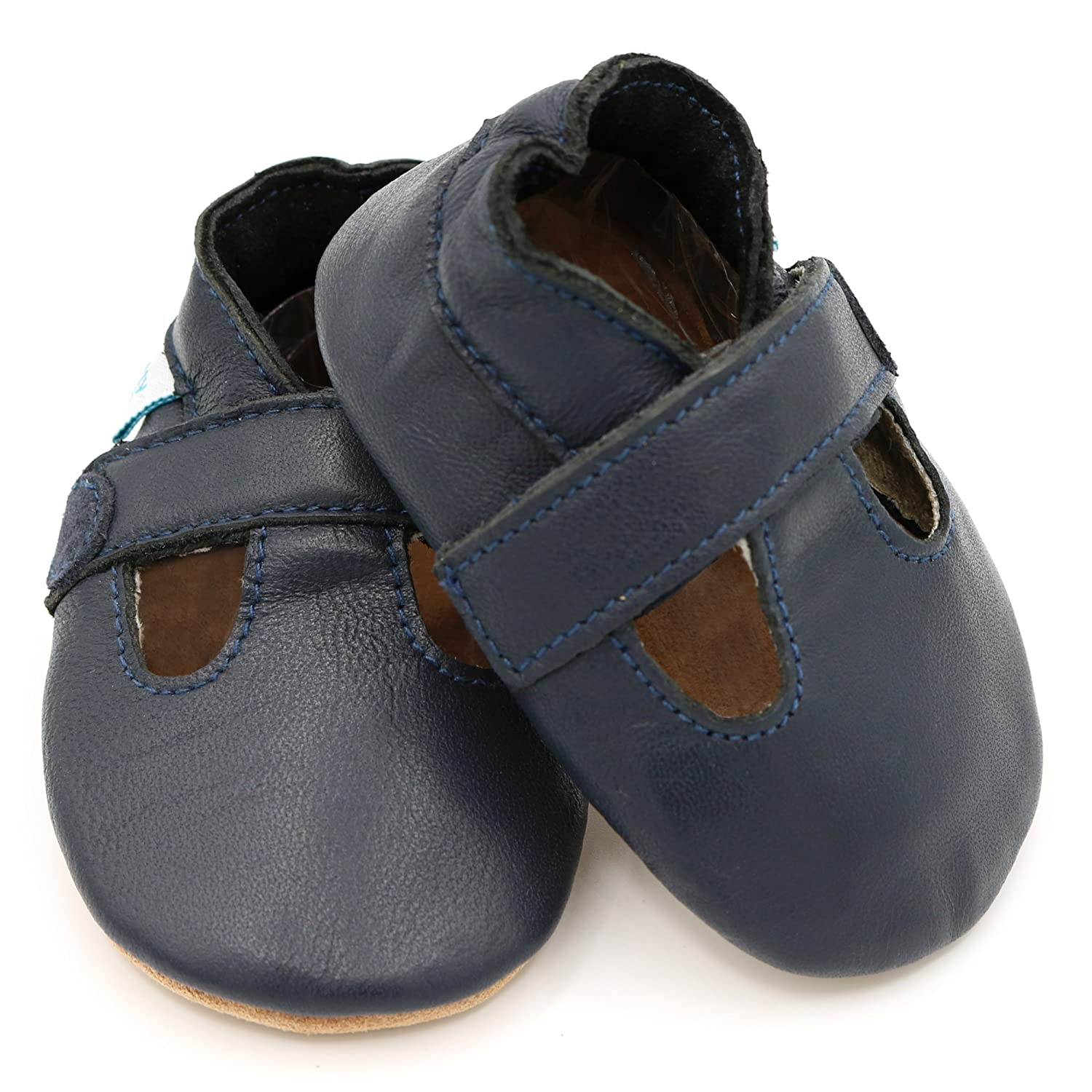 0-6 Months Navy T-Bar Shoes for Boys Dotty Fish Soft Leather Baby Shoes