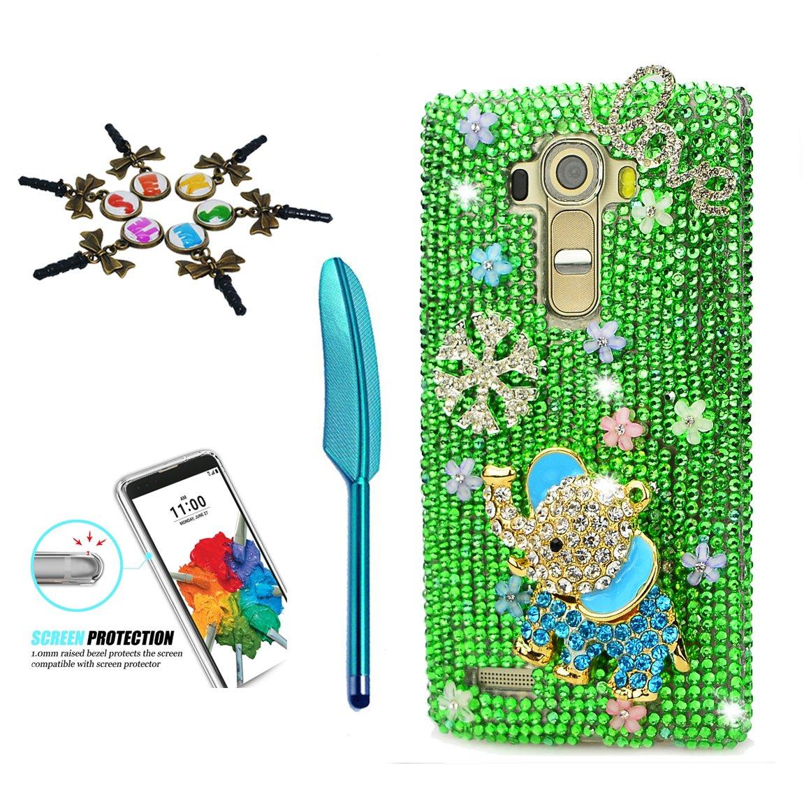 STENES LG Stylo 3 Case - 3D Handmade Crystal Sparkle Diamond Rhinestone Hybrid Cover for LG Stylo 3/Stylo 3 Plus/LG LS777 with Retro Anti Dust Plug & Stylus Pen - Elephant Snow Love Flowers/Green