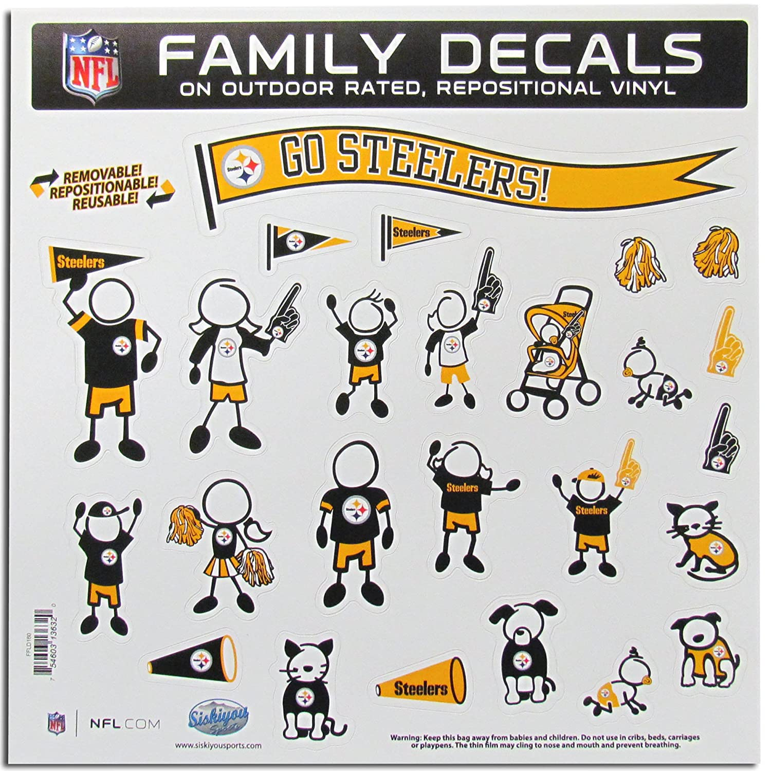 36b8c4ee NFL Pittsburgh Steelers Large Family Decal Set
