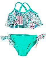 Floatimini Little Girls' Mixed Pattern Mint Print Flounce Bikini Set