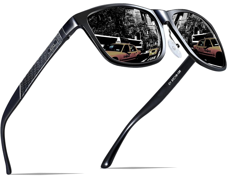 ATTCL Hombre Wayfarer Gafas de sol Polarizado Al Mg Metal Super Ligero