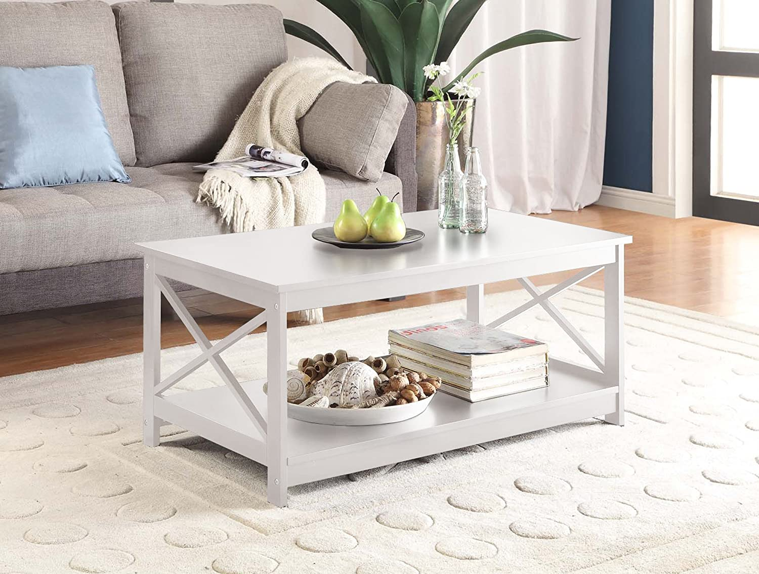 Amazon.com: Convenience Concepts Oxford Coffee Table, White: Kitchen U0026  Dining