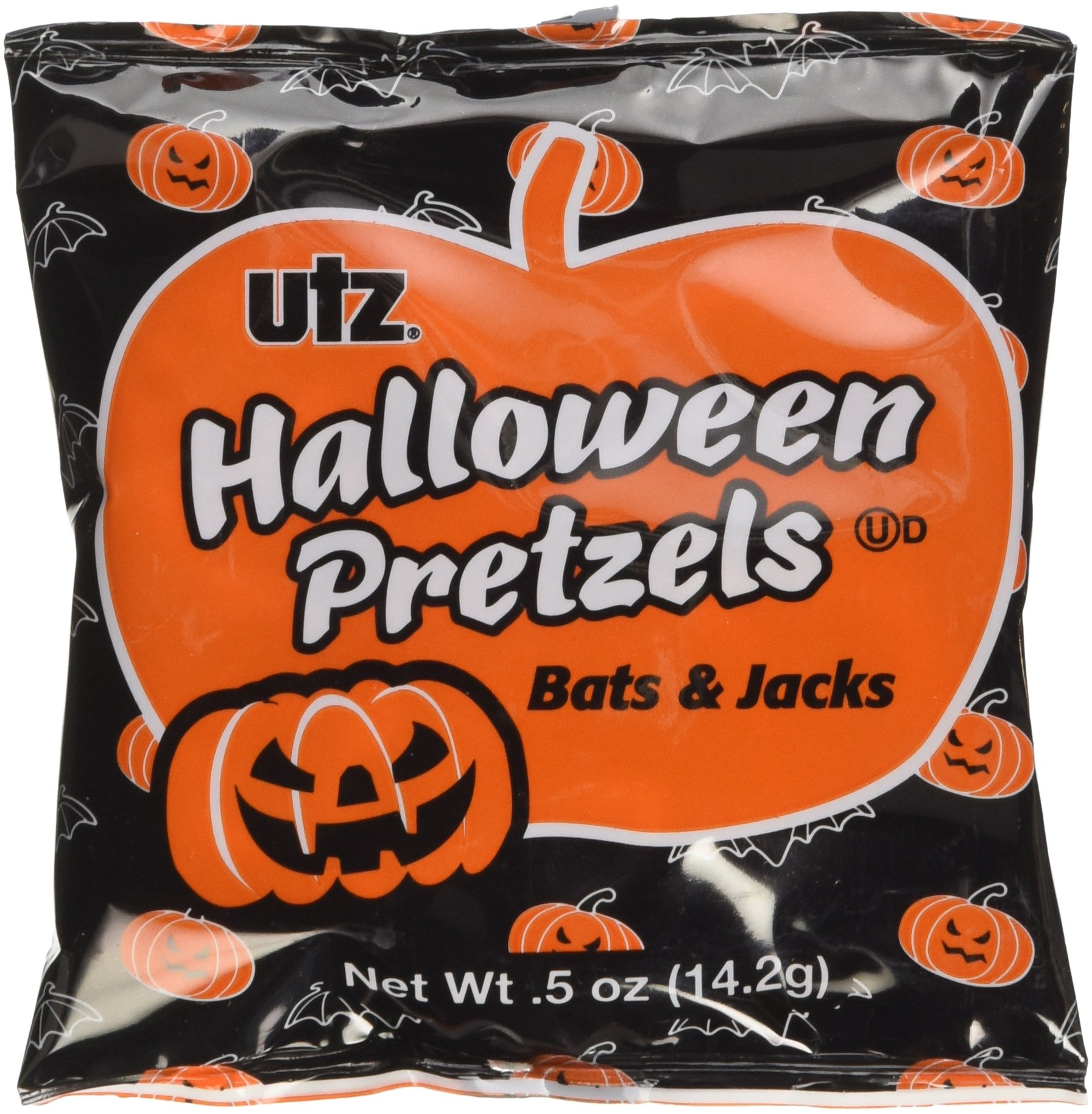 Utz Halloween Bat & Pumpkin Shaped Treats Pretzel, Box of 40 individual bags by UTZ