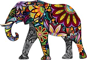 Colorful Paisley Elephant - 5 Inch Full Color Decal for Macbooks or Laptops - Proudly Made in The USA from Adhesive Vinyl