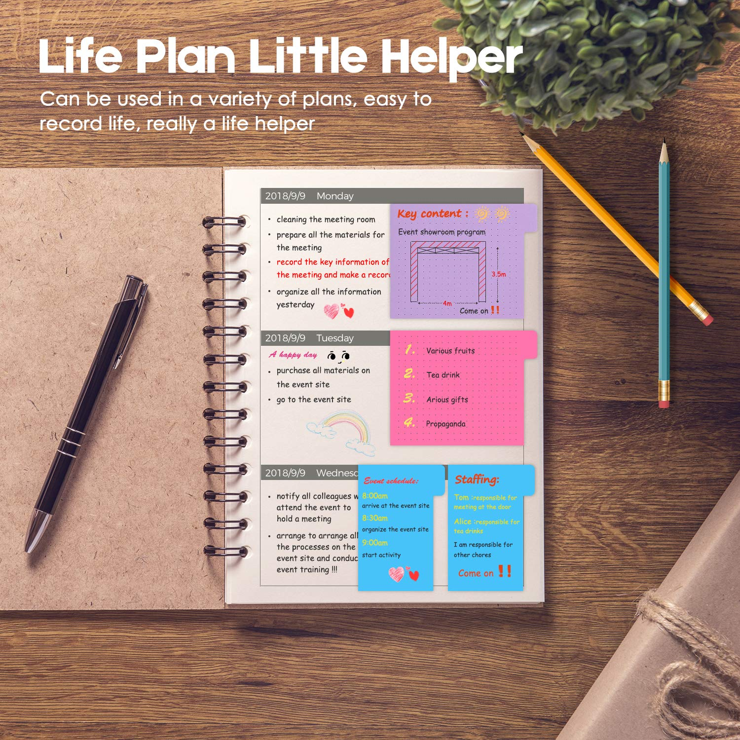Sticky Notes Set With Bookmark Index 140 Pages Divider Bosing Bulat Bundle 60 Ruled Lined 4x6 40 Dotted 3x4 Blank