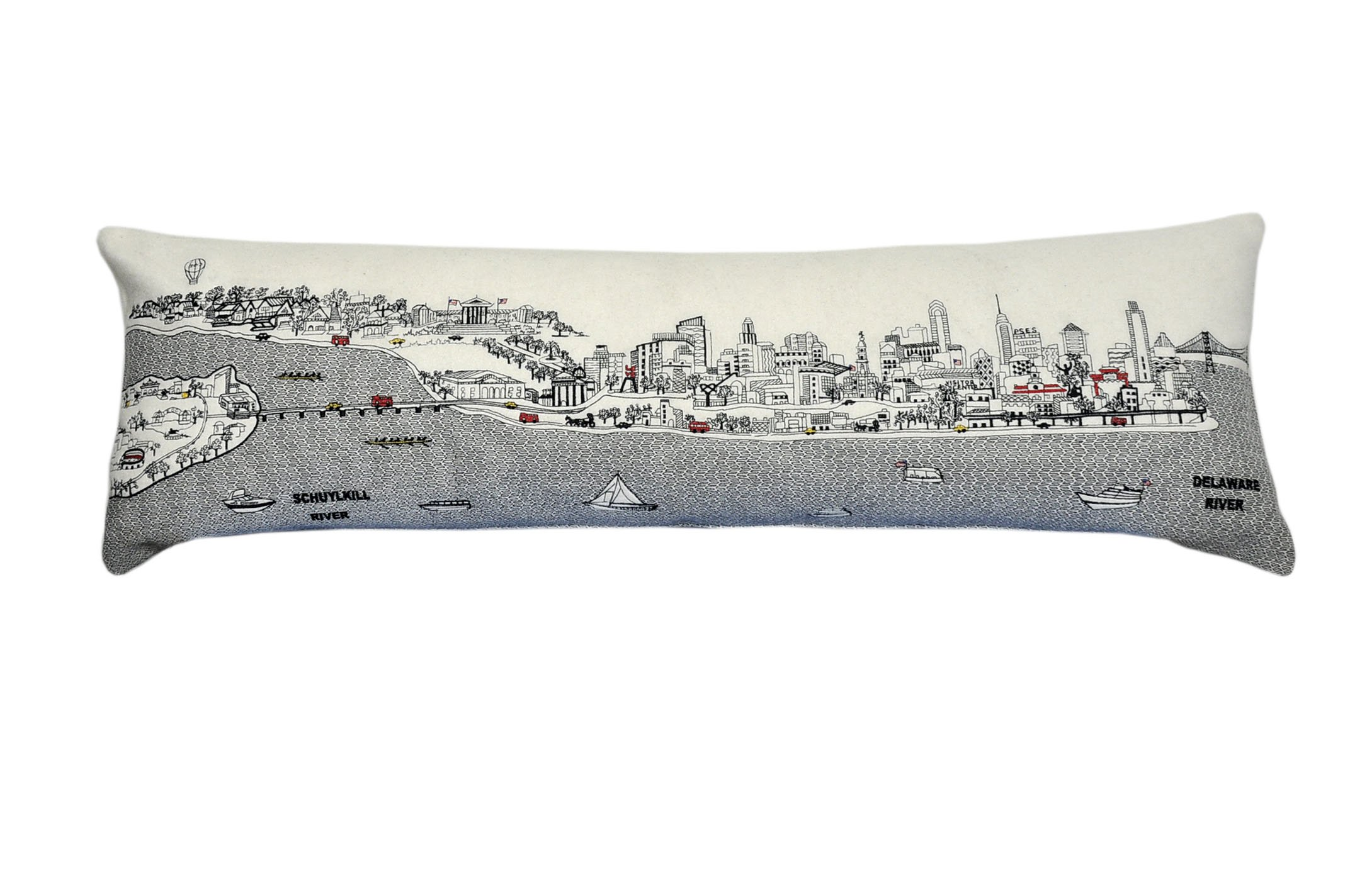 Beyond Cushions Polyester Throw Pillows Beyond Cushions Philadelphia Daytime Skyline King Size Embroidered Accent Pillow 46 X 14 X 5 Inches Off-White Model # PHI-DAY-KNG
