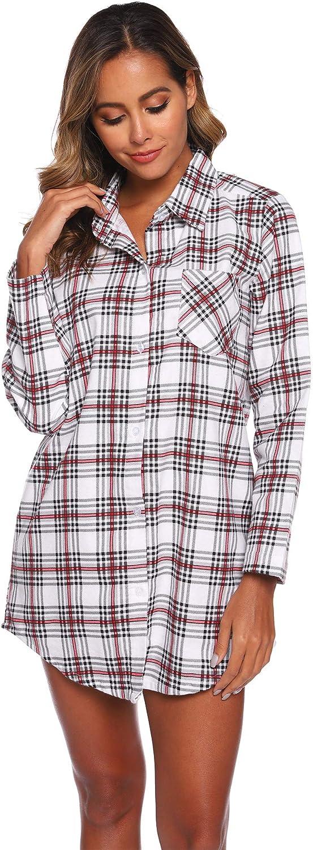 Size Color Optional Misscoo Ladies Nightgown Long Sleeve Sleepwear Plaid Nightwear Button-Down Pajamas Womens Nightdress Flannel Night Shirt for Girls