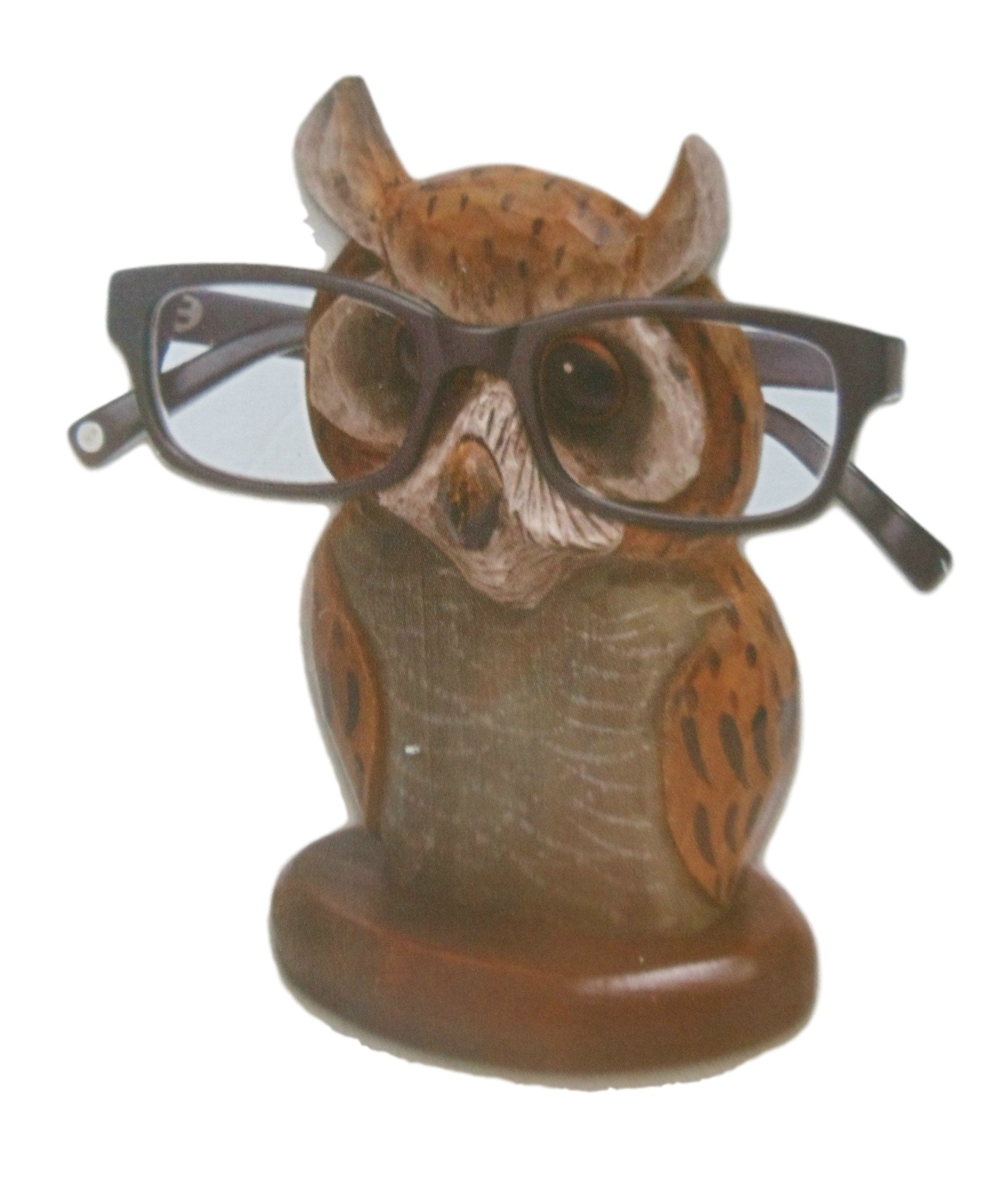 Wooden Owl Eyeglass Holder Display