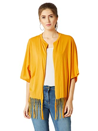 ced8500f036 Miss Chase Women s Yellow Cotton Fringe Shrug  (MCAW18JKT02-30-183-02 Mustard Yellow X. Roll over image to zoom in
