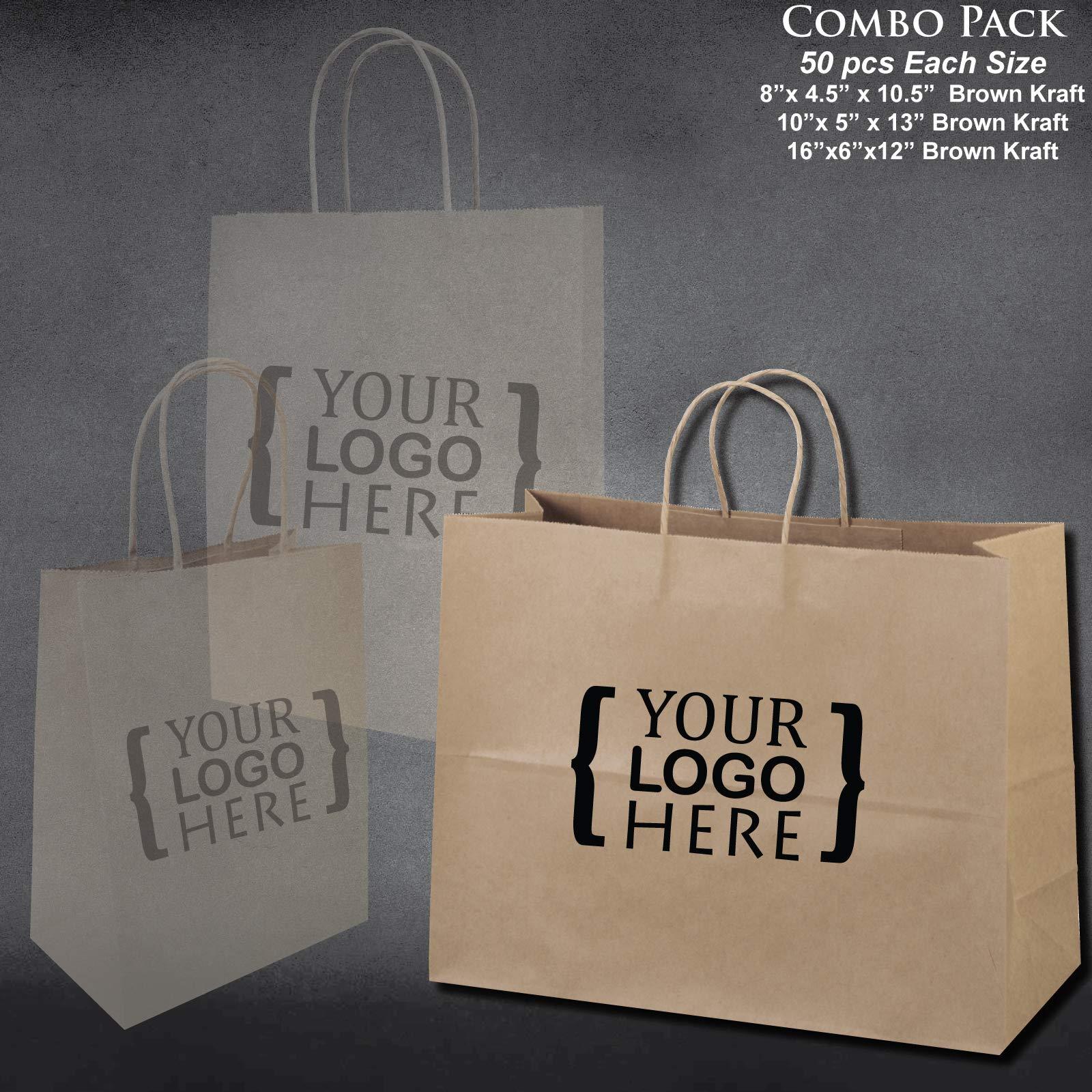 8''x4.75''x10''-10''x5''x13''-16''x6''x12'' - 50 Pcs Each - Custom Printed Bagsource Brown Kraft Paper Bags 95% Post Consumer Materials & FSC Certified … (Custom Printed) by Bag Source (Image #4)